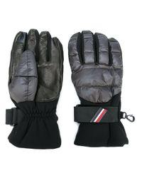 Moncler Grenoble Black Padded Logo Plaque Gloves for men