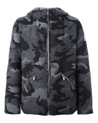 Moncler Gamme Bleu | Gray - Camouflage Print Hooded Jacket - Men - Cotton/feather Down/cupro/wool - 4 for Men | Lyst