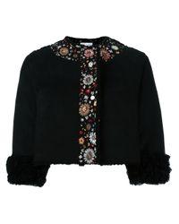 RED Valentino Black Embroidered Sheepskin Cropped Jacket