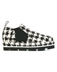 MSGM Black Houndstooth Patterned Cotton and Leather Boots