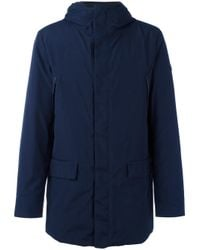Armani Jeans | Blue - Padded Hooded Zipped Coat - Men - Feather Down/polyamide/polyester/spandex/elastane - 56 for Men | Lyst