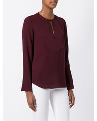 Theory | Red 'sumac' Blouse | Lyst