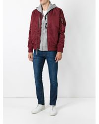 Alpha Industries Red Zipped Arm Bomber Jacket for men