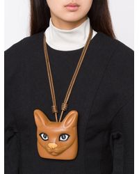 Loewe - Brown Cat Face Necklace - Lyst