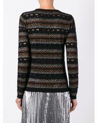 Bella Freud Black 'stripe Love Lace' Jumper