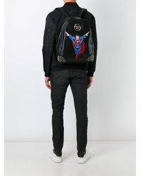 Philipp Plein Black Superman Patch Backpack for men