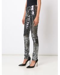 Saint Laurent Black Sequin Embellished Skinny Trousers