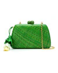 Serpui Green Straw Clutch Bag