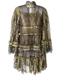Roberto Cavalli | 'runway Metallic Lace' Dress | Lyst