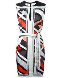 Emilio Pucci | Blue Stripe Motif Sleeveless Dress | Lyst