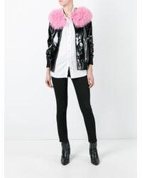 Charlotte Simone Black Va-va Varsity Patent-leather Jacket