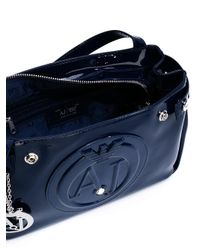 Armani Jeans Blue Zip Up Cross Body Bag
