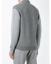 Brunello Cucinelli Gray High Neck Zipped Sweatshirt for men