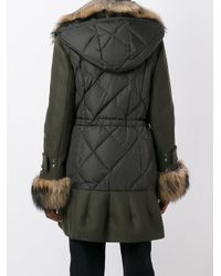 Moncler Green Eestoria Quilted Shell Coat