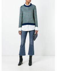 M Missoni Blue Round Neck Striped Jumper