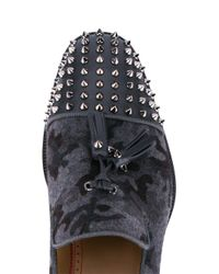 Christian Louboutin - Gray Spiked Vamp Camouflage Loafers for Men - Lyst