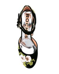Rochas - Black Floral Embroidery Pumps - Lyst