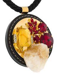 Marni - Black Mixed Pendant Necklace - Lyst