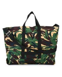 Off-White c/o Virgil Abloh - Green Camouflage Printed Cotton Tote - Lyst