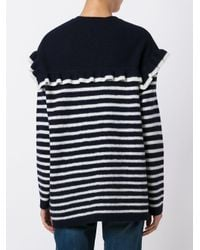 RED Valentino Blue Ruffled Detailing Striped Jumper