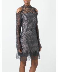 Ermanno Scervino Gray Cut-off Shoulders Lace Dress