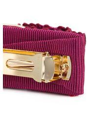 Ferragamo Purple Logo Embossed Hair Clip