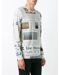 Love Moschino Multicolor Newspaper Long Sleeve Tee for men