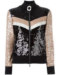 Aviu   Black Sequined Zipped Cardigan   Lyst