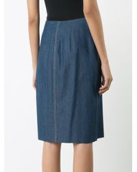 Carolina Herrera Blue Denim Wrap Skirt