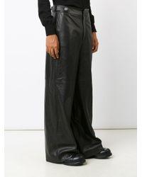 Juun.J Black Wide Leg Leather Trousers