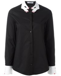 Vivetta - Black Embroidered Hand Collar Shirt - Lyst