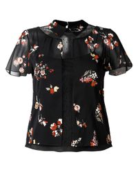 RED Valentino | Black Floral Print Sheer Blouse | Lyst