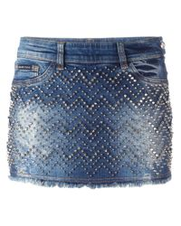 Philipp Plein | Blue 'actinidia' Denim Mini Skirt | Lyst