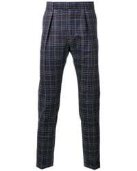 Paul Smith | Blue Pleat Detail Plaid Trousers for Men | Lyst