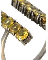 Ileana Makri - Metallic Sapphire Double Column Ring - Lyst