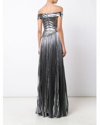 J. Mendel - Matte Metallic (grey) Pleated Gown - Lyst