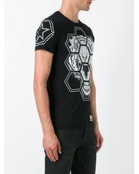 Philipp Plein Black Geometric Tiger Print T-shirt for men