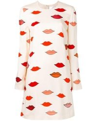 Victoria, Victoria Beckham | Scattered Lips Patch Applique Dress | Lyst