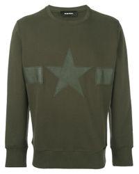 DIESEL | Green Star Patch Ribbed Trim Sweatshirt for Men | Lyst