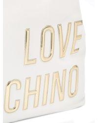 Love Moschino White Logo Rectangular Tote