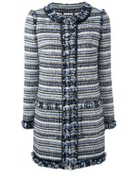 Tory Burch | Blue - Tweed Coat - Women - Cotton/acrylic/polyester/other Fibers - L | Lyst