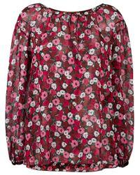 Saint Laurent | Red Anemone Print Gypsy Blouse | Lyst