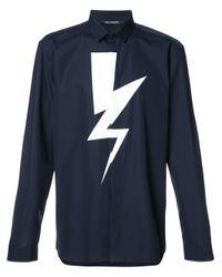 Neil Barrett Blue Lightning Bolt Print Shirt for men