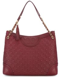 Tory Burch | Red Embossed Detail Tote Bag | Lyst