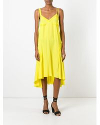 Cedric Charlier | Yellow Ruffled Detail Open Back Dress | Lyst