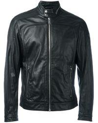 DIESEL | Black - Zipped Jacket - Men - Leather/polyester - S for Men | Lyst