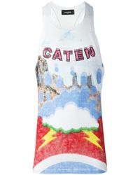 DSquared²   White Caten Lightning Cloud Tank Top for Men   Lyst