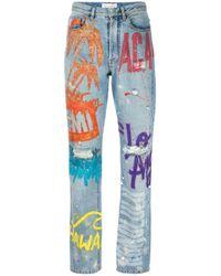 Faith Connexion | Blue Hand-painted Boyfriend Jeans | Lyst