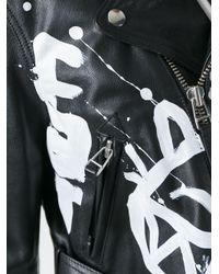 Faith Connexion - Black Hand-painted Graffiti Biker Jacket - Lyst