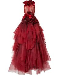 Marchesa | Rose Embellished Tulle Tiered Gown | Lyst